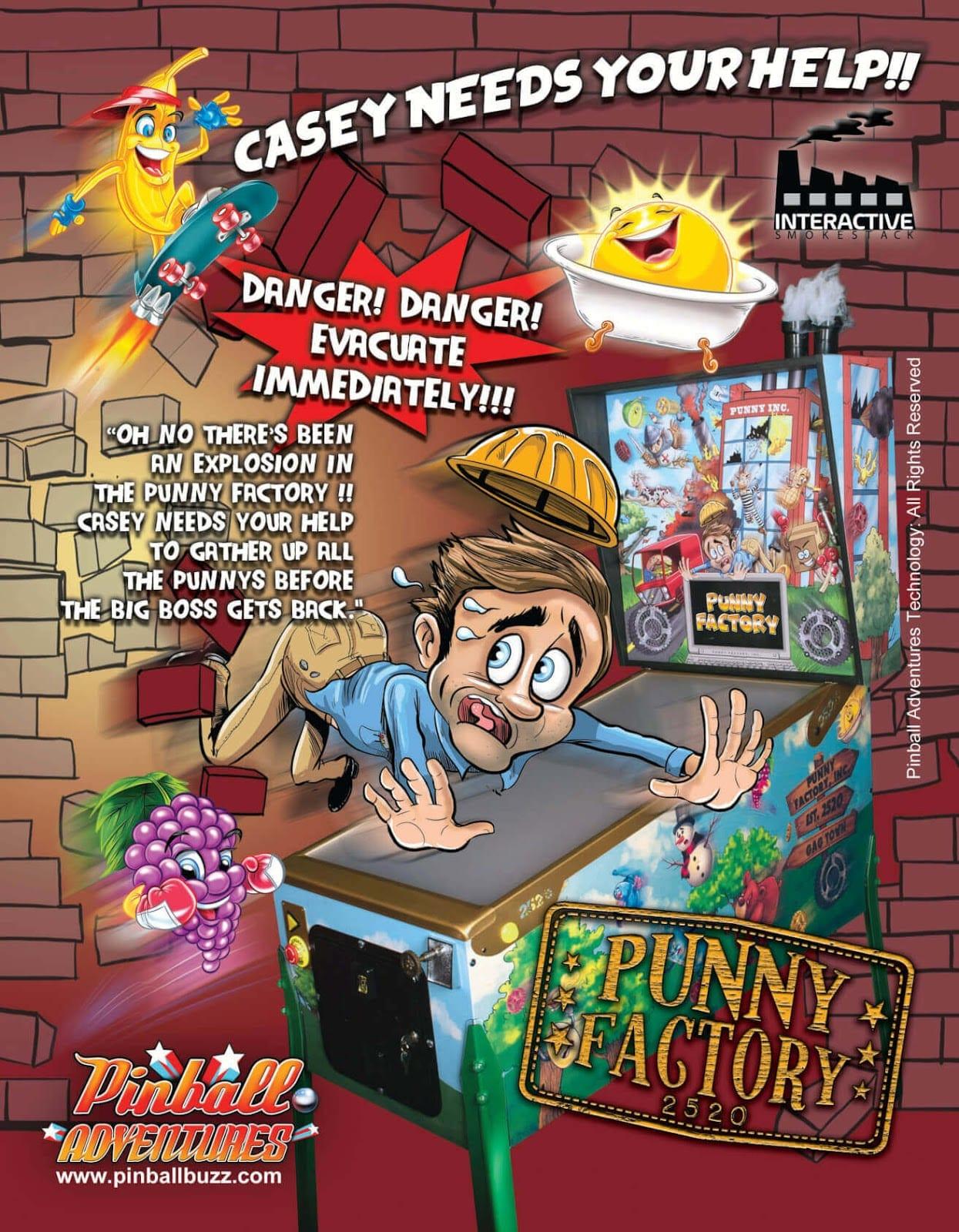 punny factory pinball flyer
